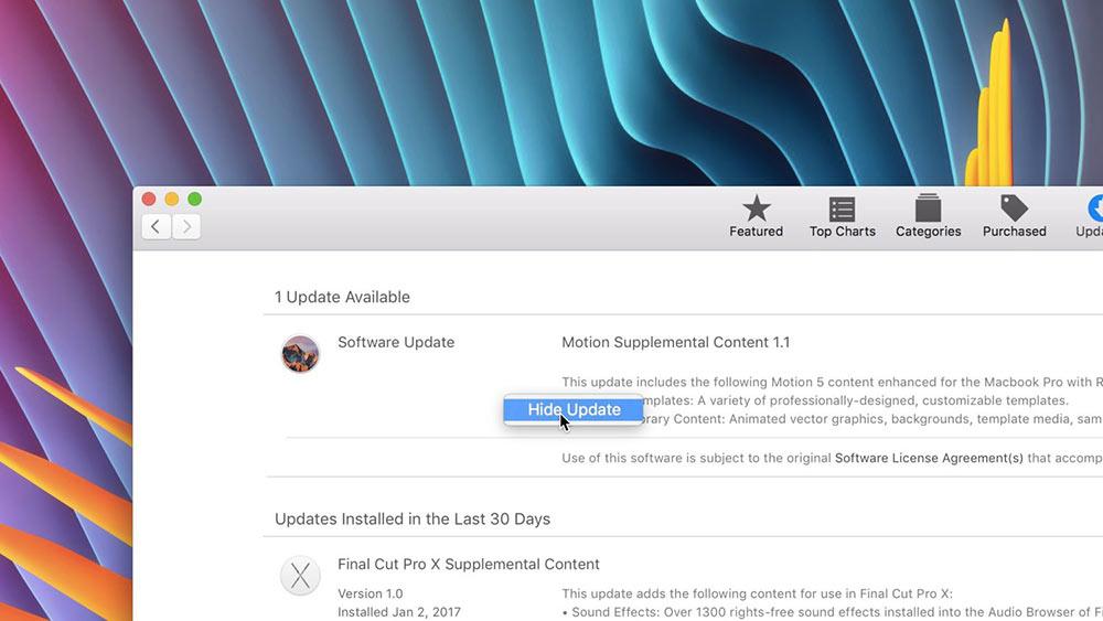 aktualizace v macOS