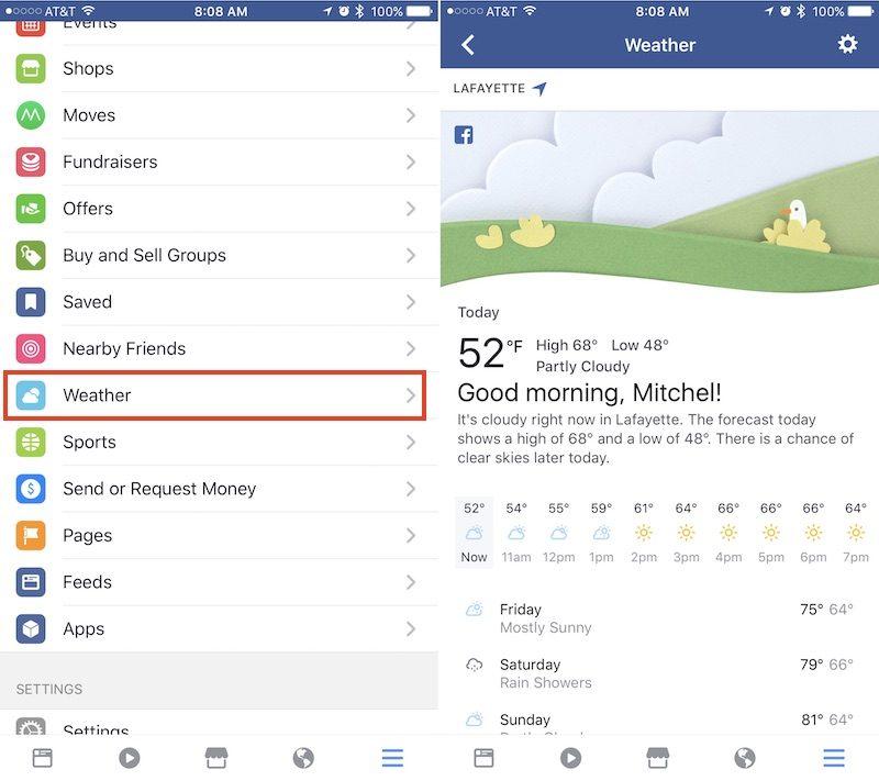 Facebook počasí