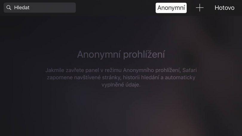 Safari Anonymní prohlížení