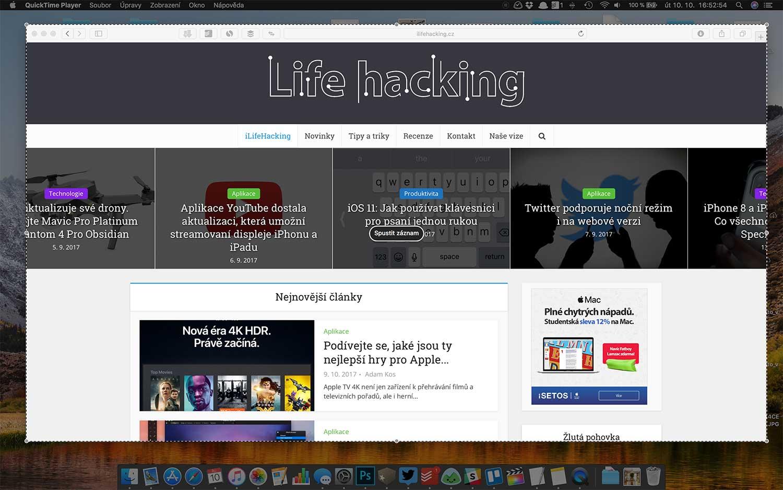 Jak nahrát obrazovku na macOS