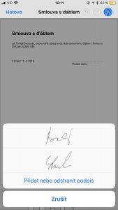 Podpis PDF iPhone